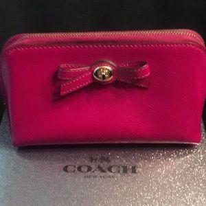 Coach Bags - Coach 2 cosmetic case purse zip Fuschia Turnlock